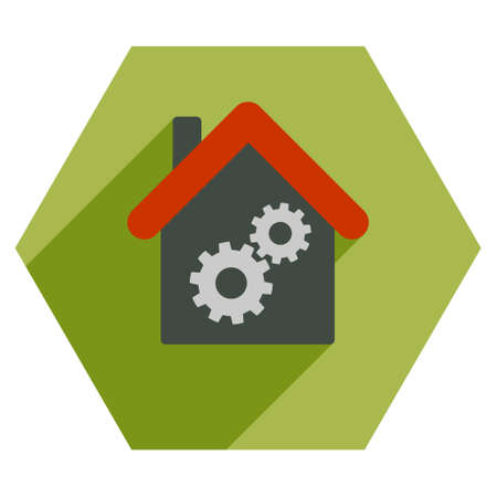 Workhouse long shadow glyph icon. Style is a flat symbol on a colored hexagon button with longshadow. Stock Photo