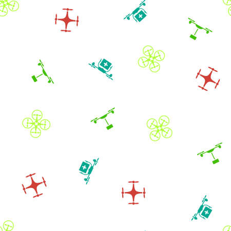 airflight: Quadcopter Seamless repeatable pattern. Style is flat vector symbols on a white background.