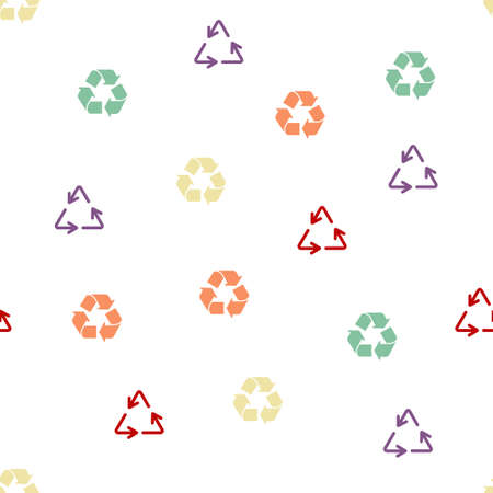 utilization: Recycle Seamless repeatable pattern. Style is flat vector symbols on a white background. Stock Photo