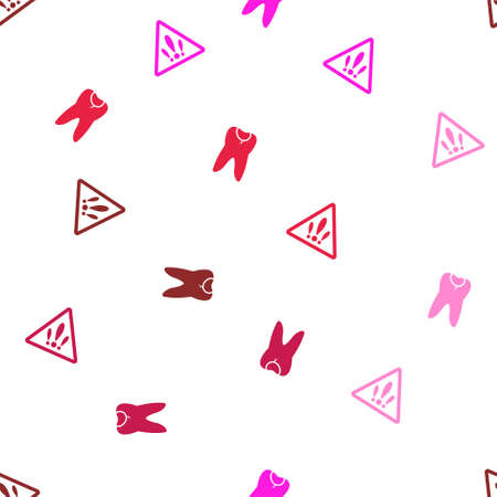 carious: Caries Seamless repeatable pattern. Style is flat glyph symbols on a white background. Stock Photo