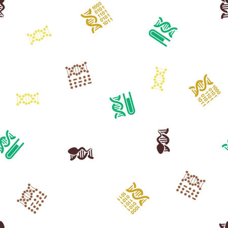 genom: Genetics Seamless repeatable pattern. Style is flat glyph symbols on a white background. Stock Photo