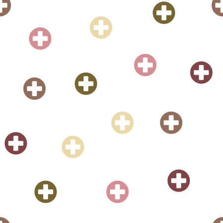 medical cross: Medical Cross Seamless repeatable pattern. Style is flat glyph symbols on a white background.
