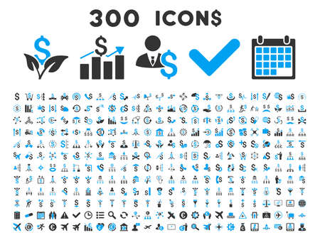 300 Business vector icons. Style is bicolor blue and gray flat symbols on a white background.