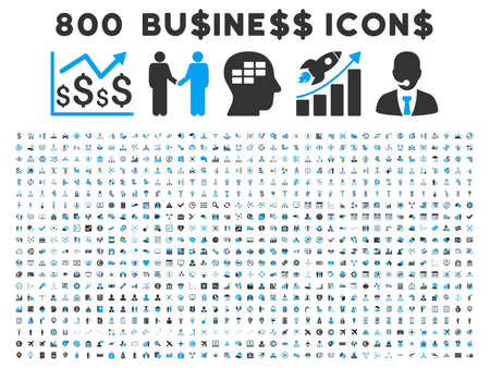 800 Business vector icons. Style is bicolor blue and gray flat symbols on a white background.