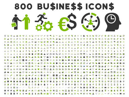 eco icons: 800 Business vector icons. Style is bicolor eco green and gray flat symbols on a white background. Illustration