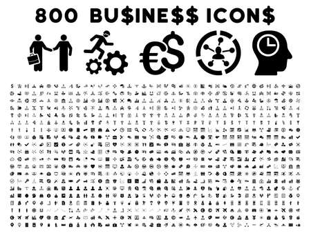 800 Business glyph icons. Style is black flat symbols on a white background.