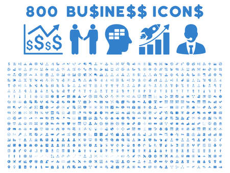 cash register building: 800 Business glyph icons. Style is cobalt flat symbols on a white background.