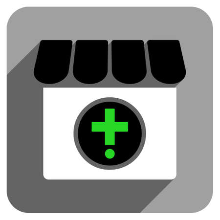 polyclinic: Drugstore long shadow vector icon. Style is a flat drugstore iconic symbol on a gray square background.