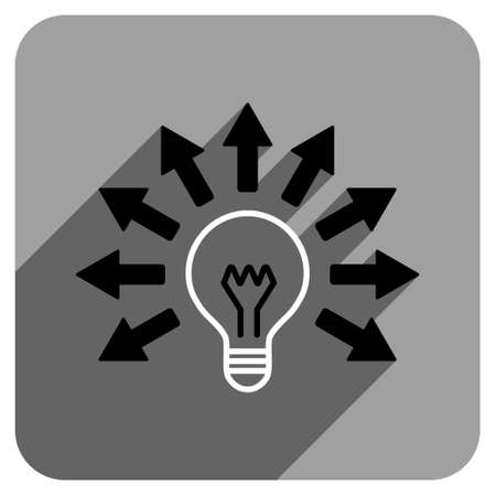 electric light: Electric Light Arrows long shadow vector icon. Style is a flat electric light arrows iconic symbol on a gray square background.