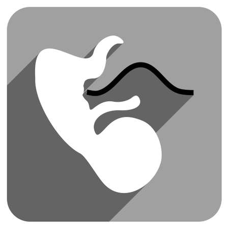 embryo: Embryo Cord long shadow vector icon. Style is a flat embryo cord iconic symbol on a gray square background.