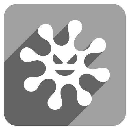 ameba: Evil Bacteria long shadow vector icon. Style is a flat evil bacteria iconic symbol on a gray square background.