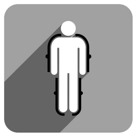 robot with shield: Exoskeleton long shadow vector icon. Style is a flat exoskeleton iconic symbol on a gray square background. Illustration