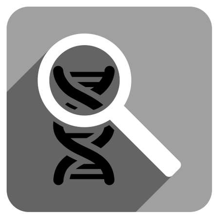 explore: Explore DNA long shadow vector icon. Style is a flat explore dna iconic symbol on a gray square background.