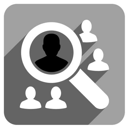 group icon: Explore Patients long shadow vector icon. Style is a flat explore patients iconic symbol on a gray square background. Illustration