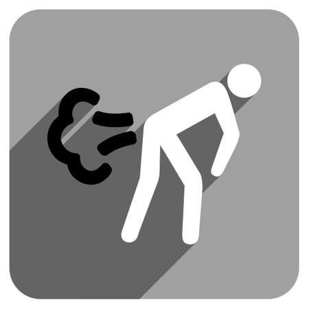 diarrhoea: Fart long shadow vector icon. Style is a flat fart iconic symbol on a gray square background.