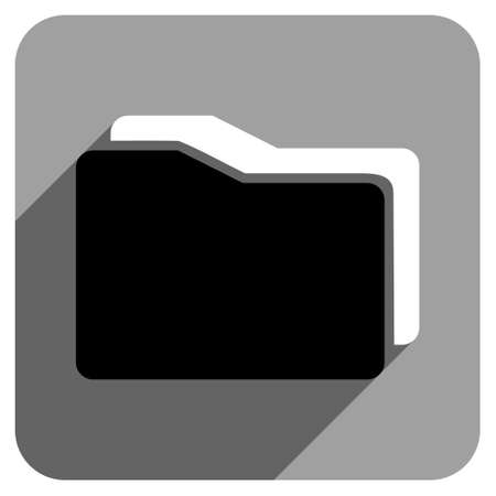 iconic: Folders long shadow vector icon. Style is a flat folders iconic symbol on a gray square background.