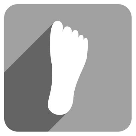 flat foot: Foot Sole long shadow vector icon. Style is a flat foot sole iconic symbol on a gray square background.