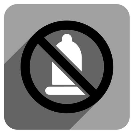 condoms: Forbidden Condom long shadow vector icon. Style is a flat forbidden condom iconic symbol on a gray square background. Illustration