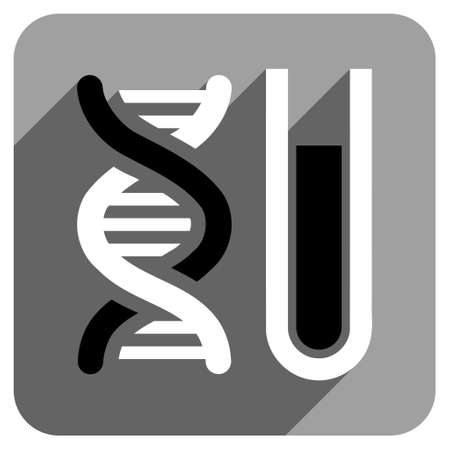 iconic: Genetic Analysis long shadow vector icon. Style is a flat genetic analysis iconic symbol on a gray square background.