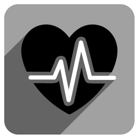 heart ecg trace: Heart Diagram long shadow vector icon. Style is a flat heart diagram iconic symbol on a gray square background.