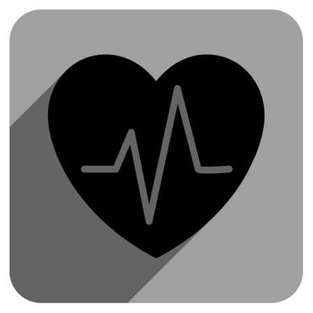 heart ekg trace: Heart Ekg long shadow vector icon. Style is a flat heart ekg iconic symbol on a gray square background. Illustration