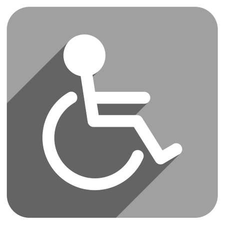 handicapped: Handicapped long shadow vector icon. Style is a flat handicapped iconic symbol on a gray square background.