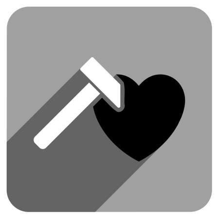 iconic: Heart Hammer long shadow vector icon. Style is a flat heart hammer iconic symbol on a gray square background. Illustration