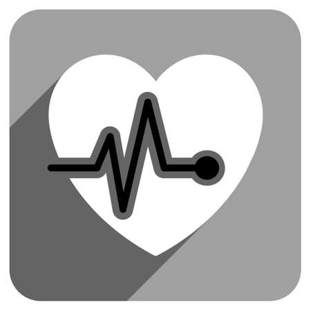 health care analytics: Heart Pulse long shadow vector icon. Style is a flat heart pulse iconic symbol on a gray square background.