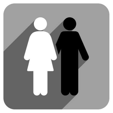 iconic: Human Couple long shadow vector icon. Style is a flat human couple iconic symbol on a gray square background.