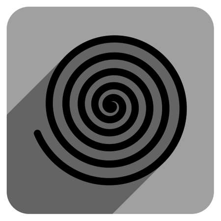 iconic: Hypnosis long shadow vector icon. Style is a flat hypnosis iconic symbol on a gray square background.