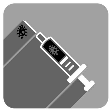 ameba: Infection Injection long shadow vector icon. Style is a flat infection injection iconic symbol on a gray square background. Illustration