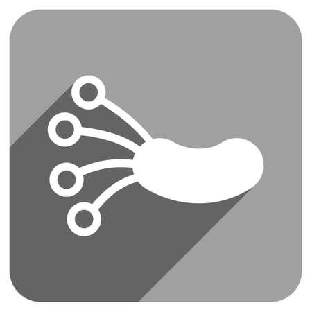 microbio: La infección del microbio larga sombra del icono del vector. El estilo es un símbolo icónico plana infección microbiana en un fondo cuadrado gris. Vectores