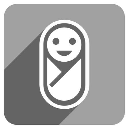 swaddling: Infant long shadow vector icon. Style is a flat infant iconic symbol on a gray square background.