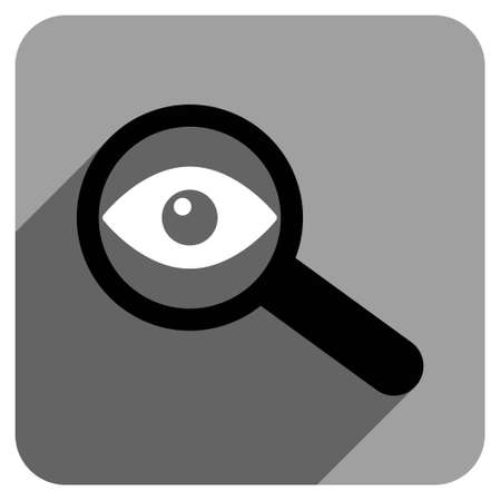 Investigate Vision long shadow vector icon. Style is a flat investigate vision iconic symbol on a gray square background. Illustration