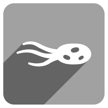 ameba: Intrude Microorganism long shadow vector icon. Style is a flat intrude microorganism iconic symbol on a gray square background. Illustration