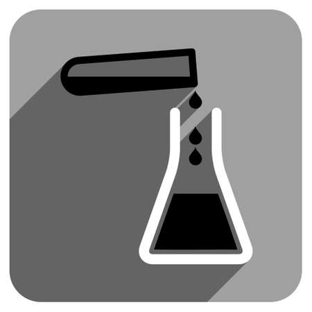 iconic: Liquid Transfusion long shadow vector icon. Style is a flat liquid transfusion iconic symbol on a gray square background. Illustration