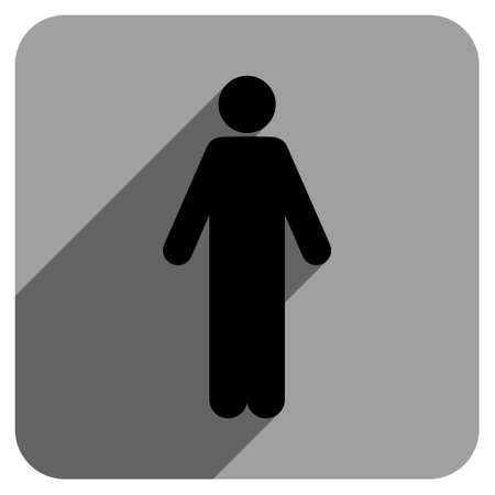 iconic: Man long shadow vector icon. Style is a flat man iconic symbol on a gray square background.