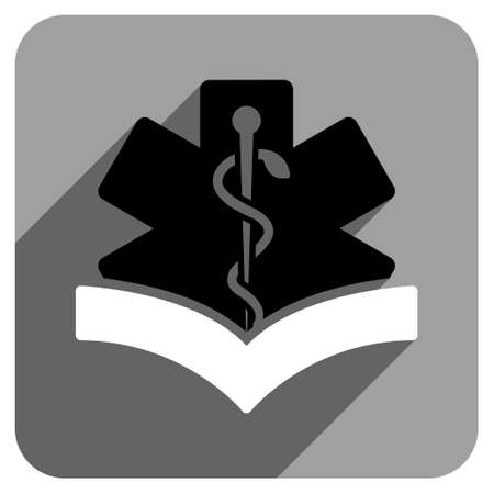 iconic: Medical Knowledge long shadow vector icon. Style is a flat medical knowledge iconic symbol on a gray square background.