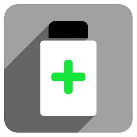 phial: Medication Bottle long shadow vector icon. Style is a flat medication bottle iconic symbol on a gray square background.