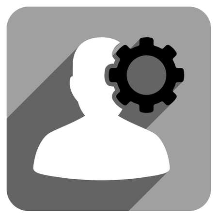iconic: Migraine long shadow vector icon. Style is a flat migraine iconic symbol on a gray square background.