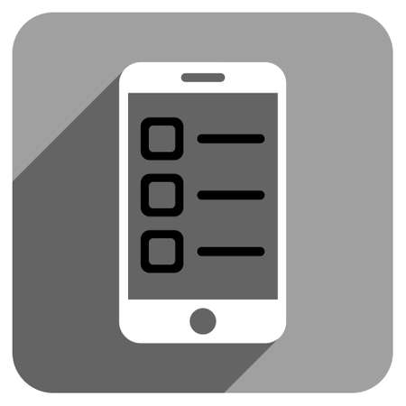 iconic: Mobile List long shadow vector icon. Style is a flat mobile list iconic symbol on a gray square background.