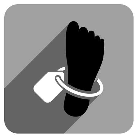 mortuary: Mortuary Foot Tag long shadow vector icon. Style is a flat mortuary foot tag iconic symbol on a gray square background.