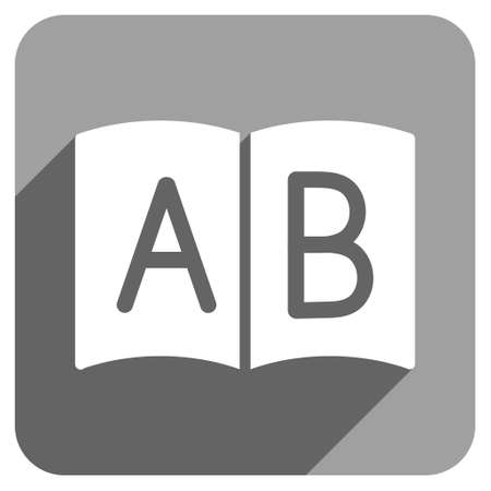 handbook: Open Handbook long shadow vector icon. Style is a flat open handbook iconic symbol on a gray square background. Illustration