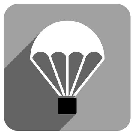 sky dive: Parachute long shadow vector icon. Style is a flat parachute iconic symbol on a gray square background. Illustration