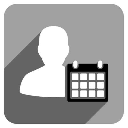 iconic: Patient Calendar long shadow vector icon. Style is a flat patient calendar iconic symbol on a gray square background. Illustration