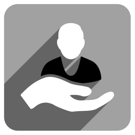 personal assistant: Patient Assistance long shadow vector icon. Style is a flat patient assistance iconic symbol on a gray square background. Illustration