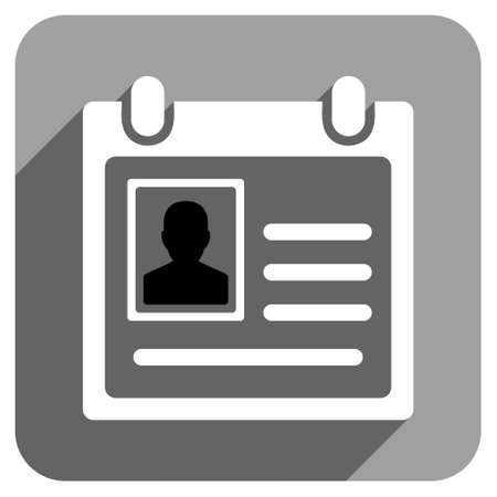admittance: Personal Badge long shadow vector icon. Style is a flat personal badge iconic symbol on a gray square background.