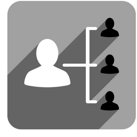 relations: Patient Relations long shadow vector icon. Style is a flat patient relations iconic symbol on a gray square background.