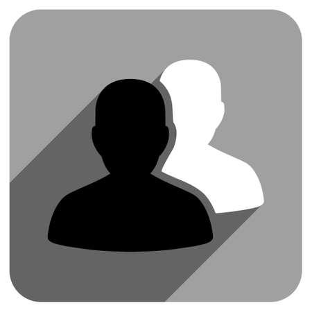 pacientes: Los pacientes larga sombra del icono del vector. El estilo es un s�mbolo ic�nico pacientes planas sobre un fondo cuadrado gris. Vectores