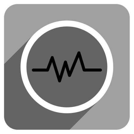 heart ecg trace: Pulse Monitoring long shadow vector icon. Style is a flat pulse monitoring iconic symbol on a gray square background. Illustration